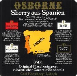 Etiqueta antigua de Osborne: Original-Flaschenimport Osborne Spanischer Sherry, 0,75 L Carl Hertzberg Lübeck.