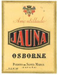 Etiqueta antigua de Osborne: Amontillado Jauna, Osborne, Puerto de Santa María.