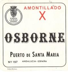 Etiqueta antigua de Osborne: Amontillado X, Osborne, Puerto de Santa María.