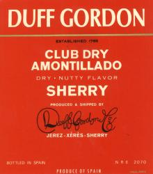 Etiqueta antigua de Duff Gordon: Established 1768 Club Dry Amontillado, Dry nutty Flavor, Produced & Shipped by Duff Gordon & Co Jerez-Xeres-Sherry