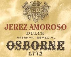 Etiqueta antigua de Osborne: Jerez Amoroso Dulce, Reserva Especial Osborne 1772.
