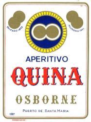 Etiqueta antigua de Osborne: Aperitivo Quina, Osborne, Puerto de Santa María.