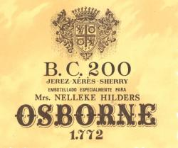 Etiqueta antigua de Osborne: BC 200, Jerez-Xeres-Sherry, Embotellado Especial para Mrs. Nelleke  Hilders, Osborne 1772