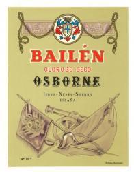 Etiqueta antigua de Osborne: Bailén Oloroso Seco, Osborne, Jerez-Xeres-Sherry, Puerto de Santa María.