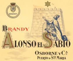 Etiqueta antigua de Osborne: Brandy Alonso El Sabio, Osborne y Cia, Puerto de Santa María.