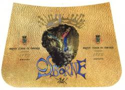 Etiqueta antigua de Osborne: Brandy Conde de Osborne, Fundada 1772