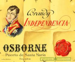 Etiqueta antigua de Osborne: Brandy Independencia, Osborne, Puerto de Santa María.