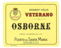 Etiqueta antigua de Osborne: Brandy Viejo, Veterano, Osborne, Casa Fundada en 1772, Puerto de Santa María.