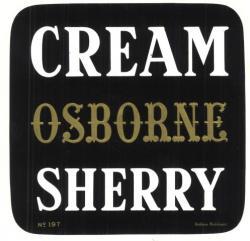 Etiqueta antigua de Osborne: Cream Osborne Sherry