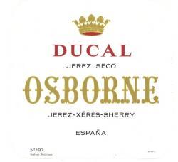 Etiqueta antigua de Osborne: Ducal Jerez Seco, Osborne, Jerez-Xeres-Sherry, Puerto de Santa María.