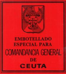 Etiqueta antigua de Osborne: Embotellado especial para comandancia general de Ceuta.