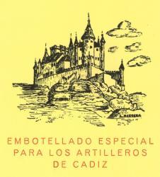 Etiqueta antigua de Osborne: Embotellado especial para Los Artilleros de Cádiz