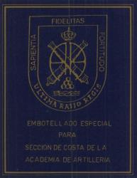 Etiqueta antigua de Osborne: Embotellado especial para sección de costa de la academia de artillería.