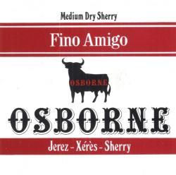 Etiqueta antigua de Osborne: Fino Amigo (Medium Dry Sherry), Osborne, Jerez-Xeres-Sherry, Puerto de Santa María.