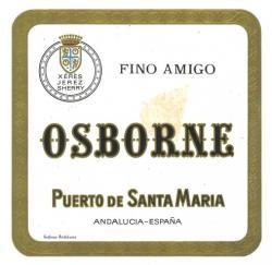Etiqueta antigua de Osborne: Fino Amigo, Osborne, Puerto de Santa María.