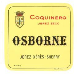 Etiqueta antigua de Osborne: Coquinero (Jerez Seco), Osborne, Puerto de Santa María.