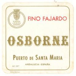 Etiqueta antigua de Osborne: Fino Fajardo, Osborne, Puerto de Santa María.