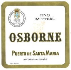 Etiqueta antigua de Osborne: Fino Imperial, Osborne, Puerto de Santa María.