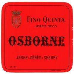 Etiqueta antigua de Osborne: Fino Quinta (Jerez Seco), Osborne, Jerez-Xeres-Sherry, Puerto de Santa María.
