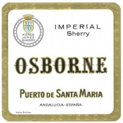 Etiqueta antigua de Osborne: Imperial Sherry, Osborne, Puerto de Santa María.