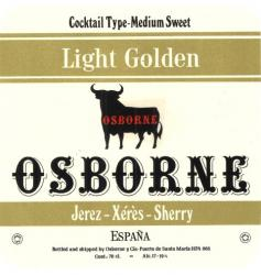 Etiqueta antigua de Osborne: Light Golden (Cocktail type-Medium Sweet), Osborne, Jerez-Xeres-Sherry, Puerto de Santa María.