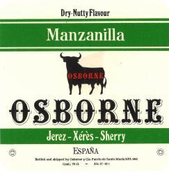 Dry nutty Flavor MAnzanilla, Osborne, Jerez-Xeres-Sherry