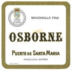 Etiqueta antigua de Osborne: Manzanilla Fina, Osborne, Puerto de Santa María.