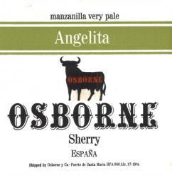 Etiqueta antigua de Osborne: Manzanilla Very Pale Angelita, Osborne, Sherry, Puerto de Santa María.