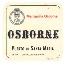 Etiqueta antigua de Osborne: Manzanilla Osborne, Osborne, Puerto de Santa María.