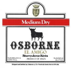 Etiqueta antigua de Osborne: Mideum Dry, Osborne, El Amigo, Jerez-Xeres-Sherry, Puerto de Santa María.