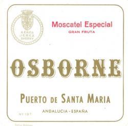 Etiqueta antigua de Osborne: Moscatel Especial gran fruta, Osborne, Puerto de Santa María.