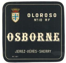 Etiqueta antigua de Osborne: Oloroso nº 10 RF, Osborne, Jerez-Xeres-Sherry