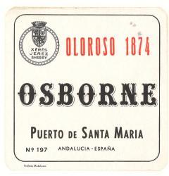 Etiqueta antigua de Osborne: Oloroso 1874, Osborne, Puerto de Santa María.