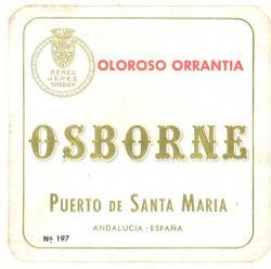 Etiqueta antigua de Osborne: Oloroso Arrantia, Osborne, Puerto de Santa María.