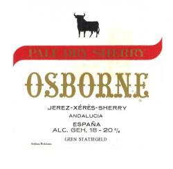 Etiqueta antigua de Osborne: Pale Dry Sherry Osborne, Jerez-Xeres-Sherry Puerto de Santa María.