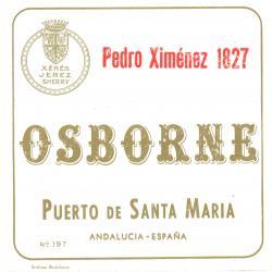 Etiqueta antigua de Osborne: Pedro Ximénez 1827, Osborne, Puerto de Santa María.
