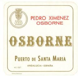 Etiqueta antigua de Osborne: Pedro Ximénez Osborne, Puerto de Santa María.