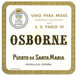 Etiqueta antigua de Osborne: Vino para misas, Embotellado especialmente para S.S. Pablo VI, Osborne, Puerto de Santa María,
